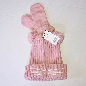 Harper Canyon Whiskers Beanie & Mittens Set Pink